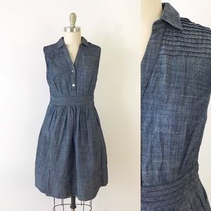 Eshakti Chambray Shirt Dress Fit Flare Blue M T858